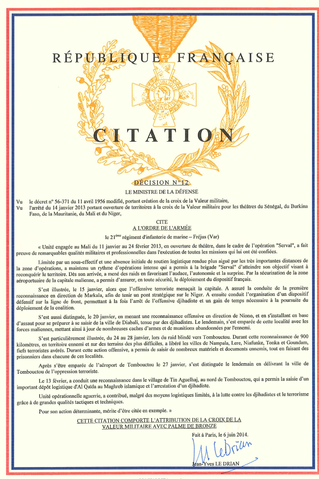 Citation 21 Mali